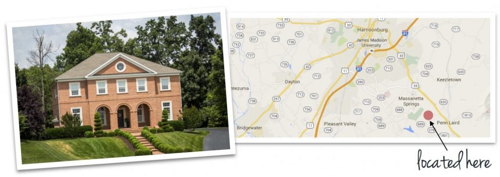 crossroads farm house and map of neighborhood location
